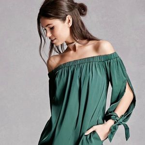 Off The Shoulder Tie Sleeve Blouse